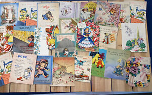 Vintage-Greeting-Cards-Lot-1940s-And-Up-25-Cards-Ephemera-Get-Well-B