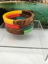 Retro Mod Wood and Lucite Bangle Bracelets Set of 4, Red, Green, Blue, Yellow