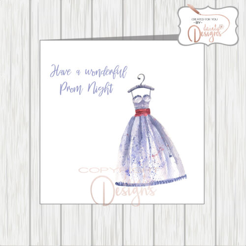 Prom Night Card With Pretty Watercolour Sketch of Beautiful Girly Dress Ballgown