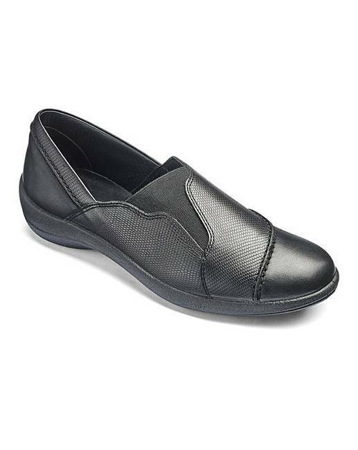 PADDERS LEATHER SLIP ON SHOES WIDE E FIT- BLACK UK 9 EU 43 JS181 FF 03