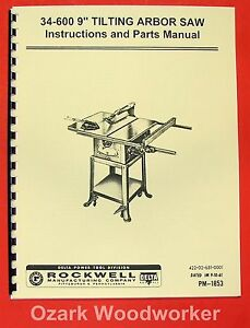 delta rockwell 34 600 9 tilting arbor table saw instructions part rh ebay com User Guides Samples User Guides Samples