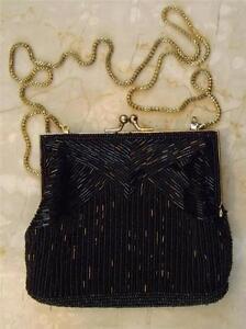 ecfa507ffddf Image is loading Vintage-Magid-Beaded-Black-Gold-Tone-Handmade-Evening-