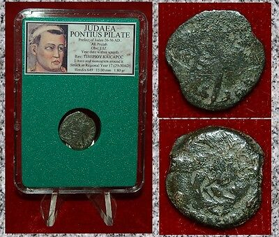 Ancient JUDAEA Coin PONTIUS PILATE Wreath and Lituus RARE HISTORICAL COIN!