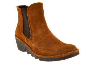 NEW FLY London Suede Chelsea Boots - PHIL CAMEL 8 - 8.5 Euro 39