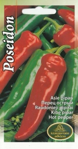 Vegetable Seeds Hot Pepper Chili Poseidon Garden Greenhouse Pictorial Packet UK