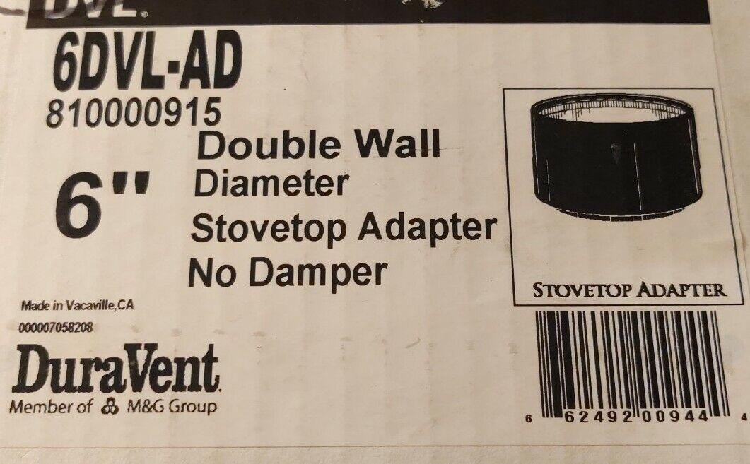 "M/&G Duravent 6DVL-AD 6/""  Black DVL Chimney Pipe Appliance Flue Adapter"