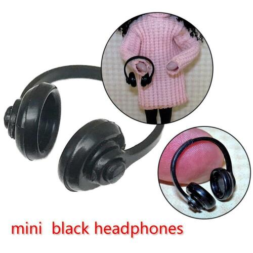 2pcs 1:12 Scale Doll House Miniature Neat Black Plastic Headphones Computer Room