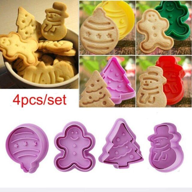 4Pcs/Set Christmas Cookie Biscuit Plunger Fondant Cutter Mould Baking Mold Xmas