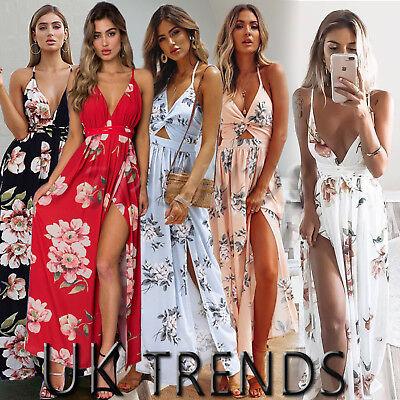 UK Womens Holiday Strappy Ladies Maxi Long Summer Print Beach Dress Slit 6-14