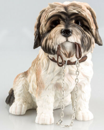 Tan Fawn /& White SHIH TZU Dog Ornament Sculpture Figurine Decorative Home Gift