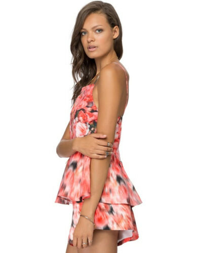 Finders Keepers Talk Is Cheap Blurred Flower Pink Peplum Strap Top Camisole NEW