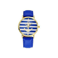 HOT GIFT Women's Watch Vintage Flower Watch Anchor Leather WHOLESALE Blue