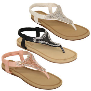 Ladies-Diamante-Sandals-Womens-Slip-On-Toe-Post-Shoes-Party-Wedding-Fashion-New
