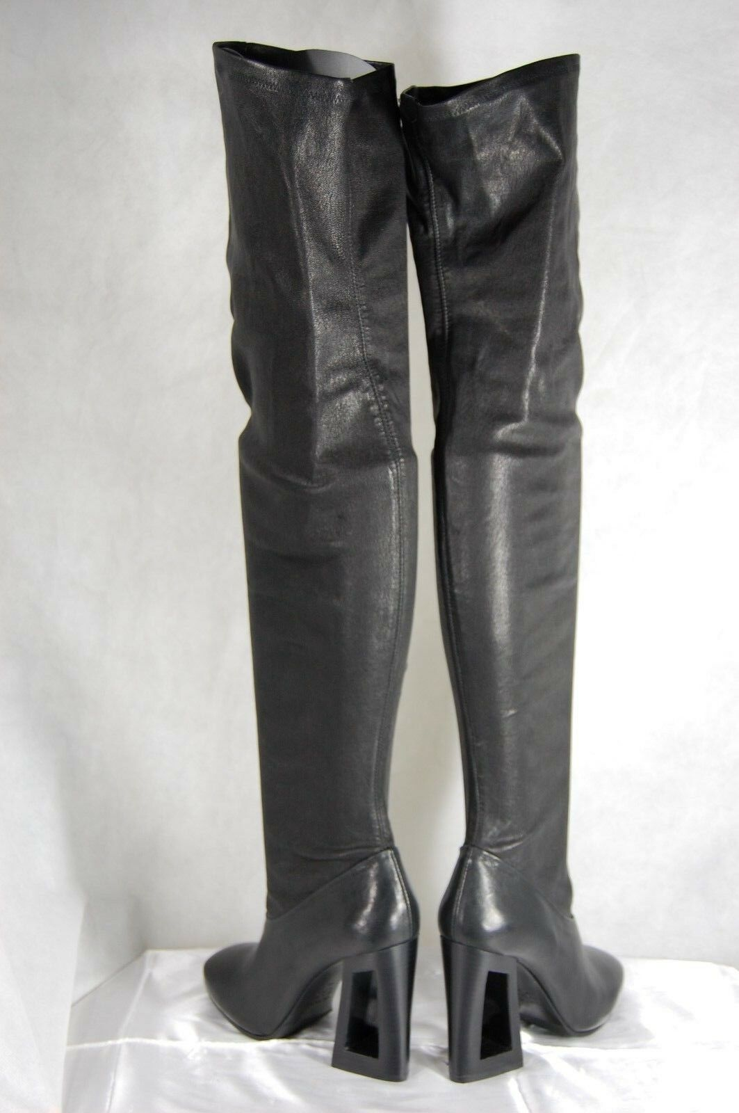 VIC MATE MADE IN ITALY schwarz LEATHER STRETCH OVER THE KNEE Stiefel EU 40 US 10