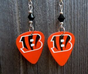 Image Is Loading Nfl Cincinnati Bengals Guitar Pick Earrings With Black