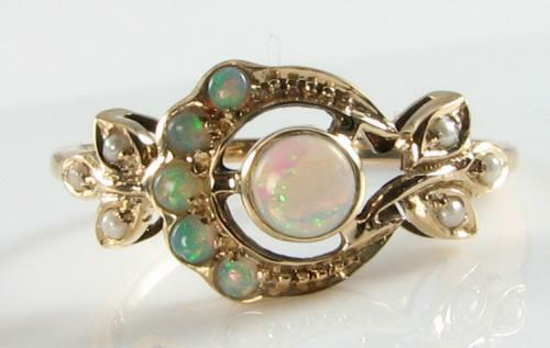 UNUSUAL 9K gold AUS OPAL & PEARL MYSTIC SUN & MOON ART DECO VICTORIAN INS RING