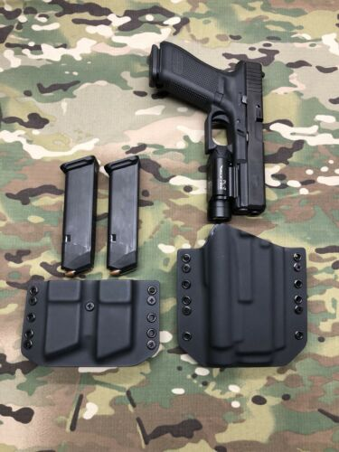 Black Kydex Holster for Glock 17 22 Olight PL-PRO Valkyrie /& Dual Mag Carrier