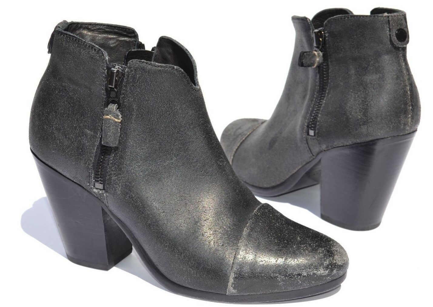 Rag and bone Margot Negro agrietado Cremallera Botines Talla 37.5 7.5