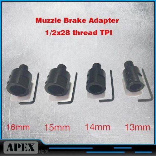 "Barrel End Threaded 1//2-28 1//2/""x28 Adapter for 13mm-16mm Muzzle Barrel Adapter"