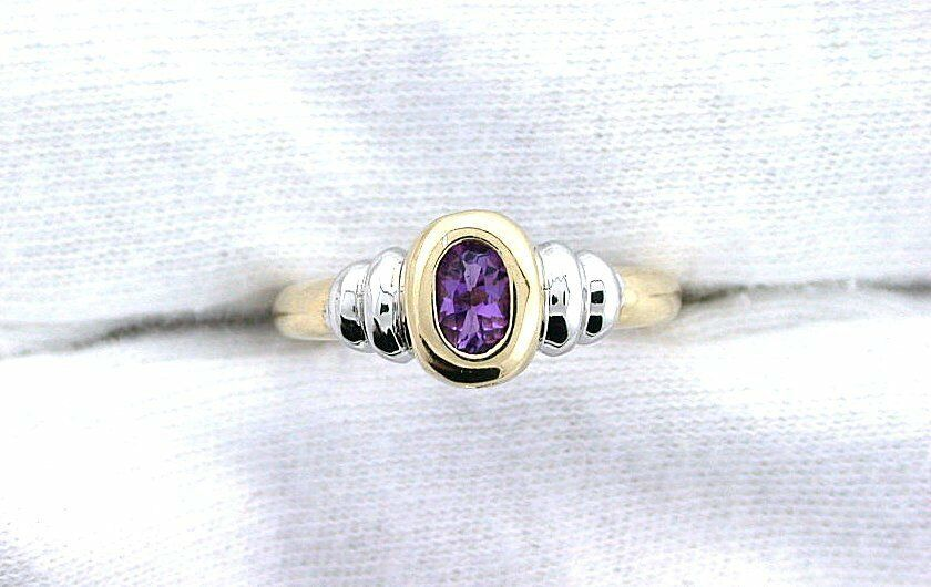 10Kt REAL Yellow gold Two Tone 5x3 Oval Amethyst Gemstone Ladies Fashion Ring