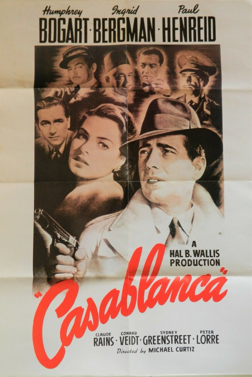 CASABLANCA 1942 Folded Movie Collectible Poster - 23 ins x 33 ins