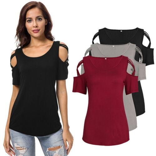 Damen Kurzarm Hollow Shoulder Shirt Bluse T-Shirt Tops Schulterfrei Freizeit FL