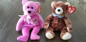 Ty Beanie Babies-Mother's Day 2004 and Papa 2004.  Mint