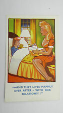 1930s Funny Comic Postcard Blonde Big Boobs Stockings Pin-Up Bedtime Story