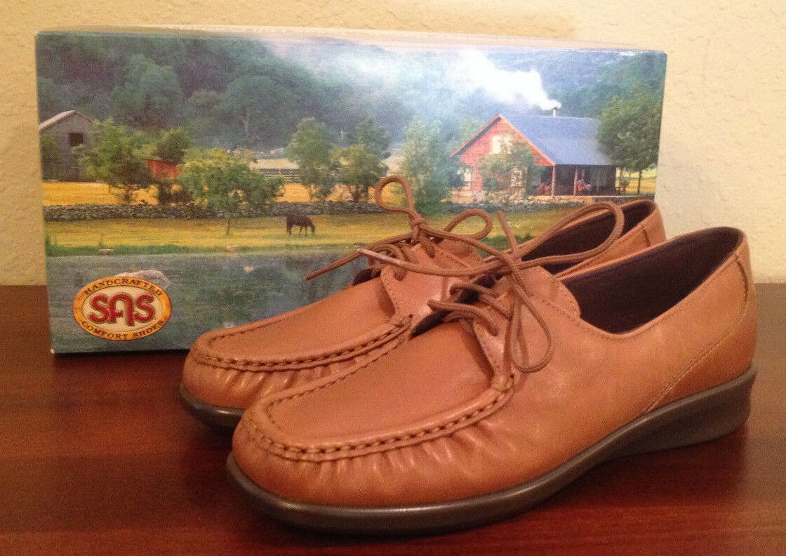 NIB  121 SAS Petra Tan marrone Moccasin Shoe Oxford Donna 6 1/2 M  6.5 M