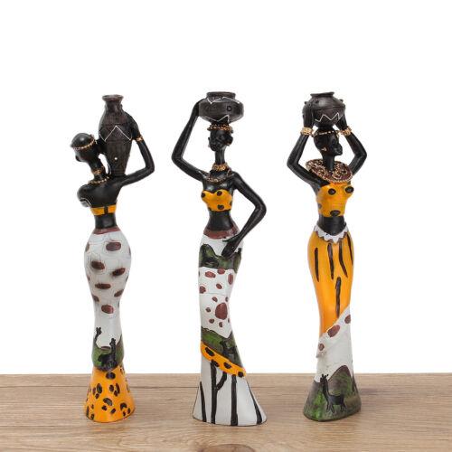 3 Pcs//set Vintage Resin African Lady Sculpture Figurine Art Ornament Home Decor