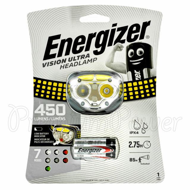 Energizer Vision Ultra LED Lampe de Tête 450 Lumens Phare + 3 Piles AAA Torche