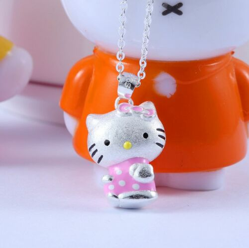 Pink 925 Sterling Silver Cat Adorable 3D *Hello Kitty* Kitten Pendant Necklace