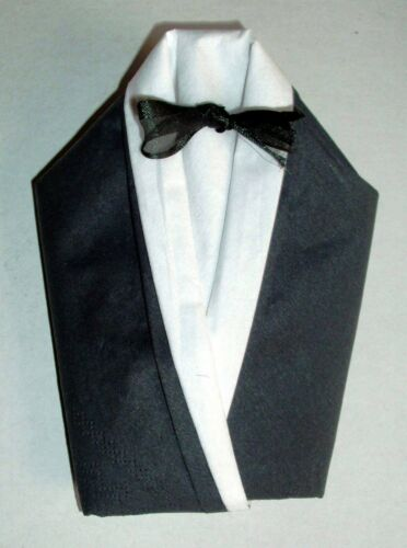 Bräutigam Smoking  Hemd Fliege Hochzeits Tischdekorationen gefaltete Servietten