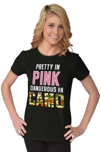 Pretty In Pink Dangerous In Camo Cute Hunting Hobby Gift Ladies Tee Shirt T