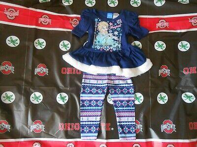 Girls Toddler Disney Frozen Elsa /& Anna 2 PC Outfit Leggings Shirt Set 2T NWT