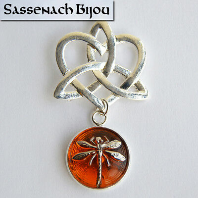 Celtic Knot Heart Dragonfly In Amber Pendant Necklace