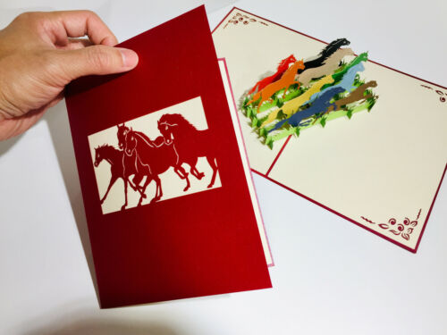 Details about  /Origami Pop Cards Racing Horses 3D Pop Up Greeting Card Birthday