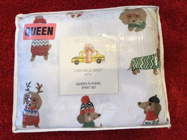Cynthia Rowley Grey Cotton Flannel Llama Lama Holiday Christmas Sheet Set NEW