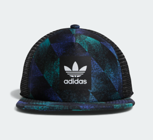 b90110a8829a4 Image is loading ADIDAS-SKATEBOARDING-TOWNING-TRUCKER -SNAPBACK-CAP-MULTICOLOR