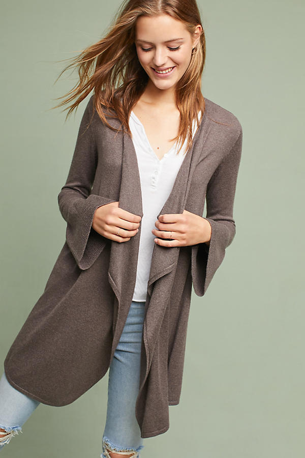 Anthropologie Bell-Sleeve Waterfall Cardigan  NWT new size S brown