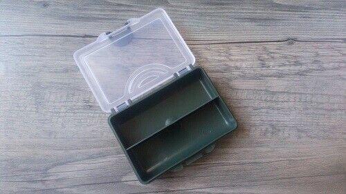 Angelbox zweiseitig mit 2Fächer für Karabiner Bleie Wirbel Haken Zubehör