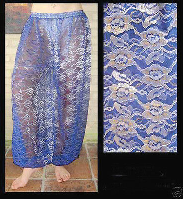 Harem Pants Belly Dance Lace Green w// Silver /& Gold Floral Pattern