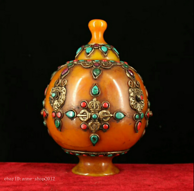 Adroit 18cm Collect Old Tibet Buddhism Beeswax Inlay Turquoise Jewels Pot Jar Azyc