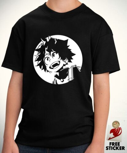 My Hero Academia T shirt Midoriya All Might Boys Anime Tee Black Gift Top Kids