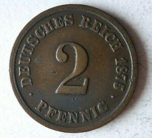 1875 F Alemán Empire 2 Pfennig - Excelente Moneda Alemán Bin #15