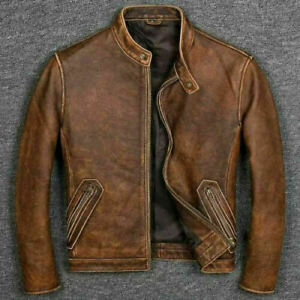 Men-039-s-Biker-Cafe-Racer-Vintage-Motorcycle-Distressed-Tan-Brown-Leather-Jacket