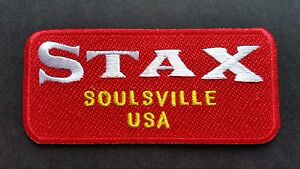 MOD SKA SCOOTER SEW ON / IRON ON PATCH:- STAX (b) SOULSVILLE USA RED STRIPE