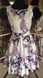 katoenen Back volledig 12 gevoerde Knoop Mint maat Gorgeous Ladies jurk bloemen Velvet zwtqfOY