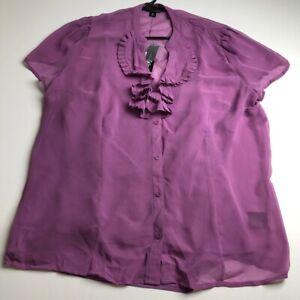 New-East-5th-Women-s-Short-Sleeve-Button-Up-Blouse-Top-XL-Purple-Sheer-Ruffle