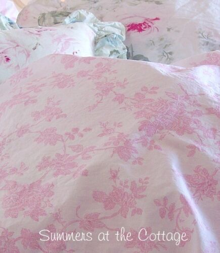 SWEET ABIGAIL SHABBY COTTAGE CHIC PRETTY PINK ROSES WHITE DARLING TWIN SHEET SET